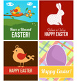 Easter cards with eggs rabbit and bird vector image vector image