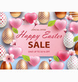 easter sale banner design with rose gold ornate vector image