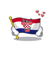 falling in love cute flag croatia scroll cartoon vector image vector image