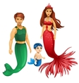 Family of mermaids mother father and child vector image vector image