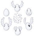 flying egg cartoon element set vector image