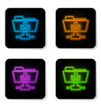glowing neon ftp folder download icon on white vector image vector image