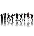 group children silhouettes dancing vector image vector image