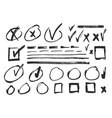 hand drawn check signs set vector image vector image