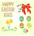 happy easter decoration easter eggs and daffodils vector image vector image