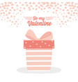 happy valentines day striped gift box hearts love vector image vector image