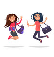 jumping girls with books and bags vector image vector image