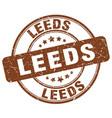 leeds brown grunge round vintage rubber stamp vector image vector image