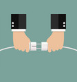 man holding in hand plug and socket to connect vector image