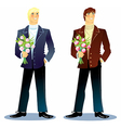 Man with a bouquet vector image