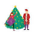 merry christmas man and girl with gift tree vector image vector image