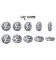 money gbp 3d silver coins set realistic vector image vector image
