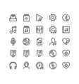 music player ui related icon set in outline style vector image