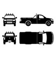 pickup truck black icons vector image vector image