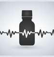 pills bottle with heartbeat icon cardio vector image