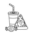 pizza soda and candy food vector image