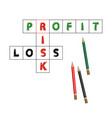 profit and loss in crossword isolated on white vector image