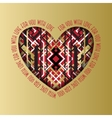 Retro love card Heart design with golden vector image