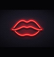 retro neon lips sign romantic kiss kissing vector image