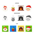 santa claus dwarf fireplace and decoration vector image vector image
