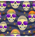 Seamless pattern with skulls on star background vector image vector image