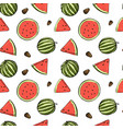 seamless pattern with watermelons in sketch style vector image vector image