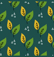 seamless plant leaves pattern hand drawn vector image vector image