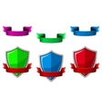 Security icons with shields and ribbons vector image
