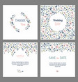 set cards with floral design elements wedding vector image