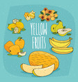 set of isolated food products yellow fruits vector image