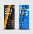set of roll-up banners in black blue and yellow vector image vector image