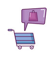 shopping cart and bag with speech bubble vector image
