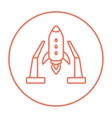 Space shuttle on take-off area line icon vector image vector image
