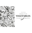 vegetables hand drawn retro engraved style vector image