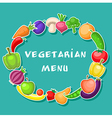 Vegetarian background with fruits and vegetables vector image vector image