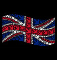 waving great britain flag pattern of arrow down vector image