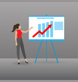 young business woman doing a presentation vector image