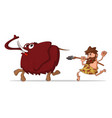 caveman and mammoth vector image