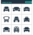 Set of modern icons Kinds of cars suv vector image