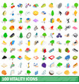 100 vitality icons set isometric 3d style vector image vector image