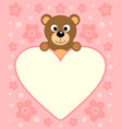 background card with funny cartoon bear vector image vector image