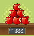 bitten apples sale pop art vector image vector image