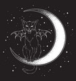 black cat with bat wings sitting on the crescent vector image