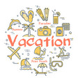bright icons for vacation concept vector image
