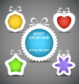 Christmas speech clouds of toys silhouettes vector image