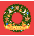 Christmas wreath on red background vector image