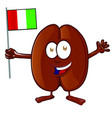 coffee bean character with italian flag vector image vector image