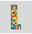Color Puzzle Piece Jigsaw Letter - L vector image vector image