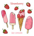 colorful delicious strawberry ice cream and vector image vector image
