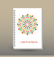 cover of diary or notebook spring floral mandala vector image vector image